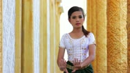 Stock Video Footage of Beautiful Asian Girl performs cambodian folk dance in temple