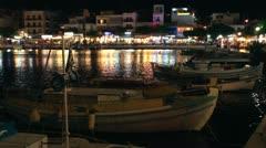 Lake Voulismeni night scene, Agios Nikolaos, Crete Stock Footage