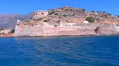 Moving Camera around Spinalonga venetians fortress, Crete Stock Footage