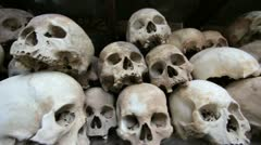 Skulls and bones in Killing field, cambodia, moving camera - stock footage