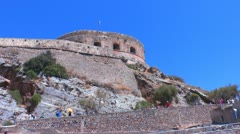 Spinalonga venetians fortress with tourists, Crete Stock Footage