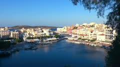 Aerial view of city Agios Nikolaos before sunset, Crete Stock Footage