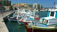 Stock Video Footage of Boats in harbor near Venetian Fortress Koules, Heraklion, Crete