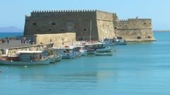 Venetian Fortress Koules  and harbor, Heraklion, Crete Stock Footage