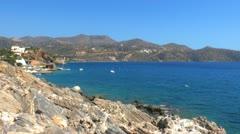 Beatiful sea view of Mirabello Bay near Agios Nikolaos Stock Footage