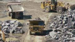 Open pit mine activity zoom in Stock Footage