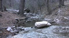 Babbling stream medium shot from middle of stream Stock Footage