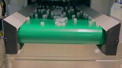 Stock Video Footage of Conveyer belt drops down details