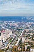 prospect mira street and moscow cityscape in autumn day - stock photo