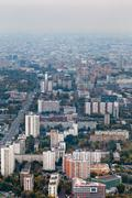 panorama of residential district in autumn - stock photo