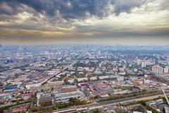 Panorama with dark yellow clouds under autumn moscow Stock Photos