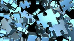 puzzle pieces flying - stock footage