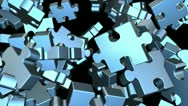 Stock Video Footage of puzzle pieces flying