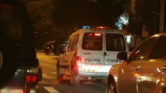 Israeli Police traffic examiner on assignment to examine a car accident Stock Footage