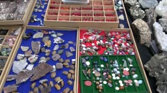 Jewelry stones in street market Stock Footage
