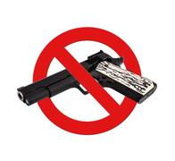 sign prohibiting gun - stock photo