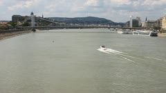 Danube with a boat and Elizabeth Bridge in Budapest Stock Footage