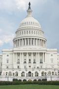 west portico of united states capitol - stock photo
