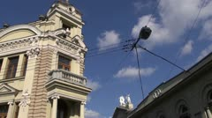 Vilnius old town and griffon sculptures on house roof Stock Footage
