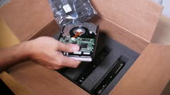 Hard Drive Shipment Box 2709 Stock Footage