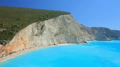 A landscape of Porto Katsiki beach on the island of Lefkada Stock Footage