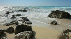 Waves rushing towards the shore in the Ionian sea on the island of Lefkada Stock Footage