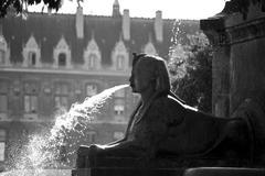 Sfinx spouting water Stock Photos