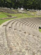 benches in ancient roman theatre - stock photo