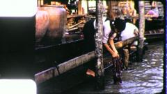 Girl WASHING LAUNDRY Riverside Bangkok Canal 1970 Vintage Film Home Movie 4219 Stock Footage