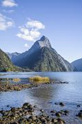 Mitre peak in milford sound, new zealand Stock Photos