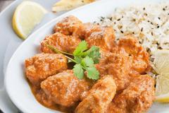chicken curry with pilau rice - stock photo