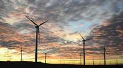 Wind turbines at sunset - stock footage