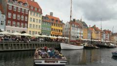 Copenhagen excursion boat in harbor 2c. Stock Footage