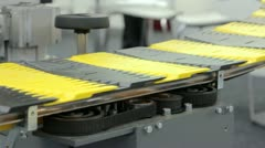 Conveyer belt with yellow and black stripes Stock Footage