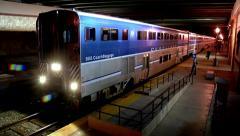 Camarillo train station at night people commuting lifestyle transportation Stock Footage