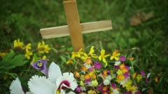 Roadside road side memorial cross death DUI texting driving Stock Footage