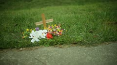 Roadside road side memorial cross death DUI texting driving 2 Stock Footage