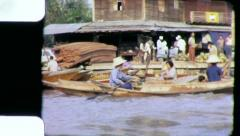 RIVERSIDE FLOATING MARKET Circa 1970 (Vintage Film Home Movie) 4231  Stock Footage