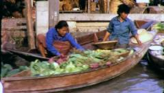 FLOATING MARKET Thailand  Bangkok Circa 1970 (Vintage Film Home Movie) 4238 Stock Footage