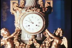 Brighton Pavilion, close up clock, period room, Royal Palace, Brighton, England Stock Footage