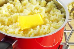 Mashed potato saucepan Stock Photos