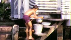 LONGTAIL BOAT Riverside Bangkok 1970 (Vintage Film Home Movie) 4247 Stock Footage