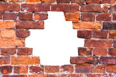 Hole in the old brick wall Stock Illustration