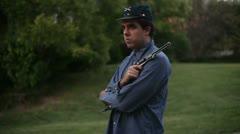 Union civil war soldier standing Stock Footage