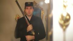 Union soldier guard gaurd Stock Footage