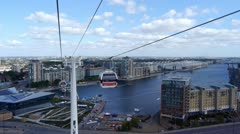 View from a cable car travelling over the Thames. Stock Footage