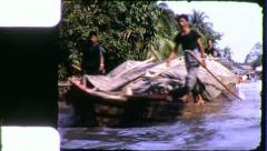 Riverside DAILY LIFE CANAL Bangkok Thailand 1970s (Vintage Film Home Movie) 4256 Stock Footage