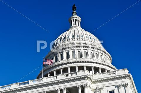 Stock photo of washington dc capitol hill building dome