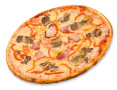 Pizza with bacon Stock Photos