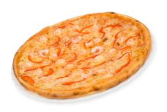 Pizza with shrimps, clipping path Stock Photos